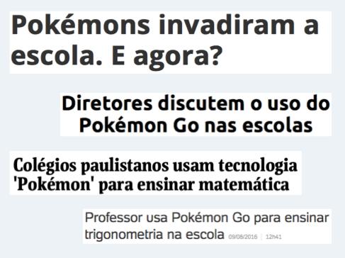Notícias sobre Pokémon Go na escola